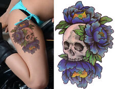 Temporary Tattoo Large Skull Blue Roses Flower Body Art Fake Waterproof Ladies