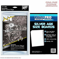 BUNDLE! Ultra Pro - Resealable SILVER Size Comic Bags & Backing Boards x 100