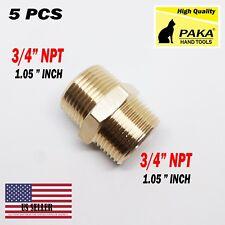 5 X Brass Pipe Hex Nipple 3/4