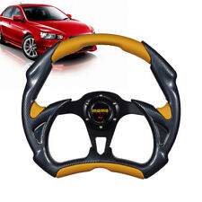 Aluminum Car Racing Steering Wheel Sports Wheel Black & Yellow with Horn Button