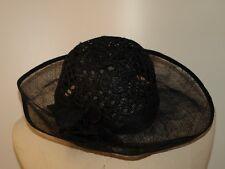 Chapeau cérémonie noir dentelle de chanvre et tulle