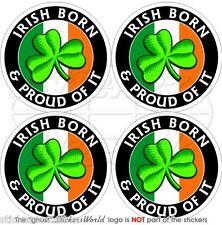 IRLANDE Irlandais Né et Fier Eire Trèfle 2'' (50mm) Stickers Autocollants x4