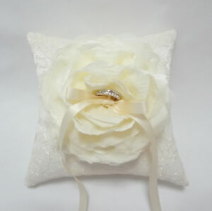 Handmade Wedding Ring Pillow Beautiful Ivory Flower on Ivory Lace Ring Pillow