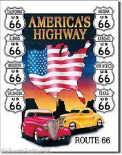 Large Car Automobile HISTORIC ROUTE 66 Vintage Retro Metal Wall Plaque Sign 605