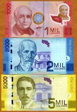 SET, Costa Rica, 1000;2000;5000 Colones, 2009-2015 P-274-275-276, UNC