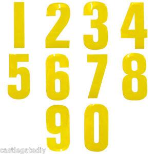 Yellow Reflective Wheelie Bin Numbers Sticker Outdoor Weatherproof 17cm High
