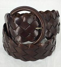 Leather Wide Belt Boho Brown Woven Big Buckle Over The Shirt Womens L / XL