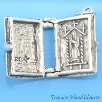 BIBLE with CROSS VIRGIN MARY MOVABLE 3D .925 Solid Sterling Silver Charm Pendant