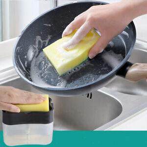 Magic Wipe Dish Sponge Brush Soap Pump Dispenser Kitchen Clean Washing