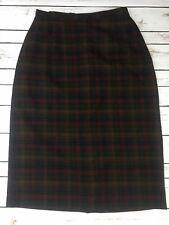 "Vtg Pendleton Wool Pencil Skirt Plaid Tartan 28"" Waist 27"" Long Red Brown Black"