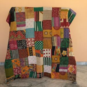 Vintage Patchwork Kantha Quilt Bedding Bedspread Reversible Rally Throw