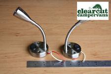 2 x Campervan/Caravan 12v LED Flexi Spot Light, Flexible Switched Reading Lights
