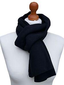 MENS Polyester Soft Feel Fine Knit Warm Polar Fleece Black Scarf 158 cm x 26 cm
