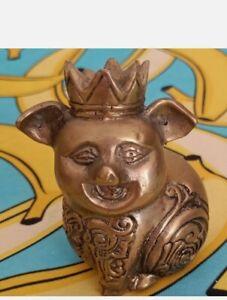 Vintage Brass King Pig Javanese Sculpture 3 Inch High ornament