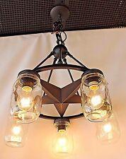 5 light clear mason jar lighting lone star chandelier in rubbed bronze finish