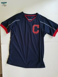 Cleveland Indians Boys Youth Blue Majestic Wick Polyester Tshirt Size L 14/16