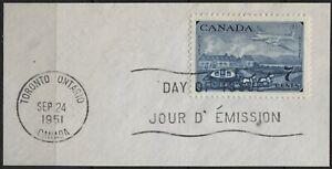 Canada 1951 #313 7c deep blue stamp centenary cut square FDC