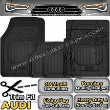 Audi Car Tailored Tailor Fit Heavy Duty Black Rubber Carpet Front Rear Mats Set