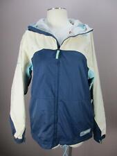 Burton Size L Womens Blue Tan Full Zip Insulated Hooded Ski Snowboard Jacket 868