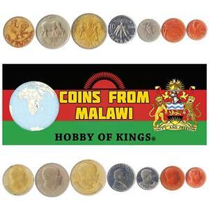 SET OF 7 COINS FROM MALAWI: 1, 2, 5, 10, 20, 50 TAMBALA, 1 KWACHA. 1984-1994