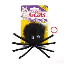 FURRY SPIDER CAT KITTEN PLAY CHASE HUNTING CATNIP TOY ON ELASTIC STRING FUN PLAY