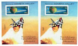 CHILE 1985 Block souvenir perforate & unperforate Halley comet Astronomy