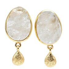 Earrings Rainbow Moonstone Raw Crystal 14K Gold Overlay 1 Inch Post Dangle