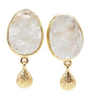 Earrings Rainbow Moonstone Raw Crystal 14K Gold Overlay 1 Inch Post Dangle