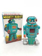 Vintage Tin Mechanical Mighty Robot Noguchi Shoten Japan 1960s Wind-up boxed