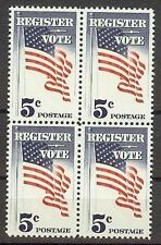 US 1964 Sc# 1249 set Vote block4 MNH more voters to polls campaign American Flag