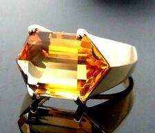 14K Yellow Gold Natural 9.00 Carat Fantasy Cut Orange Tourmaline Ring