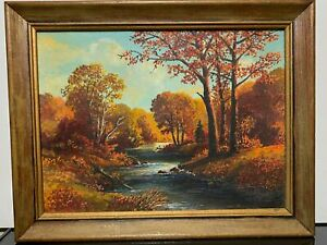 Vintage Signed Autumn Fall Landscape Country River Oil Painting