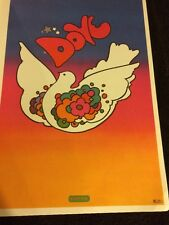 Rare Vintage Peter Max Psychedelic Art Poster 1970s Peace Love Dove Hippie Hippy