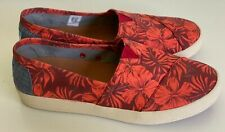 NEW! TOMS CANVAS CORAL FLORAL SLIP-ON SHOES SNEAKERS 6.5 37 SALE