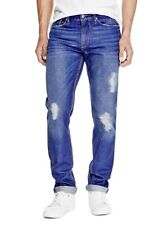Guess Men's Slim Straight Jeans In Opulent Blue Wash With Destroy Size 30