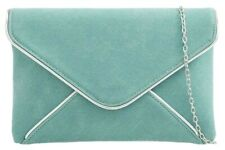 Blue Clutch Bag Ladies Duck Egg Faux Suede Evening Bag Aqua Envelope Handbag