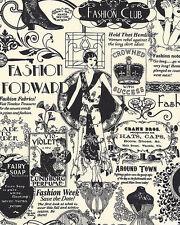 Black White Fashion Retro Text  Art Nouveau Timeless Treasures Fabric 1/2 Yard