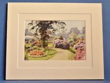 BOURNEMOUTH WINTER GARDENS VINTAGE DOUBLE MOUNTED WATER COLOUR PRINT c1920 10X8