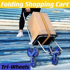 Folding Shopping Cart Stair Climber Cart With Tri Wheels 200 Lbs Grocery Usa
