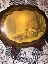 Vintage decoupage lacquered print wall hanging/wooden plaques