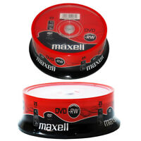 GENUINE MAXELL DVD-RW 4.7GB 4X SPEED 120MIN REWRITABLE DVD DISCS 25 PACK SPINDLE
