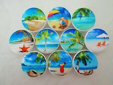 Set of 10 Tropical Beach Cabinet Knobs Drawer Knobs Nautical