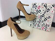 Miss kg dahlia camel en daim cuir escarpins chaussures talons taille 36 uk 3 coffret rrp £ 85