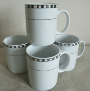 VINERS  ~ PENCILLED TILES ~ 4 MUGS ~ 10CM HIGH