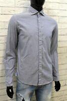 Armani Jeans Camicia da Uomo Taglia M Camicetta a Righe Grigio Maglia Shirt Man