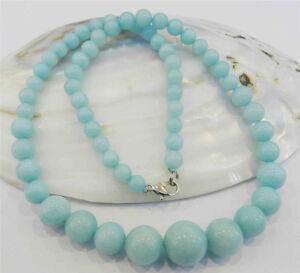 "Beautiful 6-14mm Light Blue Brazilian Aquamarine Gems Round Beads Necklace 18"""