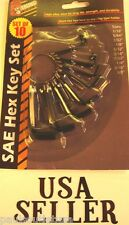 ALLEN WRENCH STANDARD HEX KEY RING SET TOOL 10 pc New