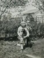 Vintage Old 1920 Photo of Little Girl in Cowgirl Outfit & Cute Little Black DOG