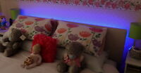 LED Headboard Light Set In Blue Standard Bed Sizes 9v Battery Remote Option