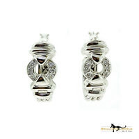 Magnificent Diamond Small Hoop Cable Wire Earrings in 18k White Gold 10.6 Grams
